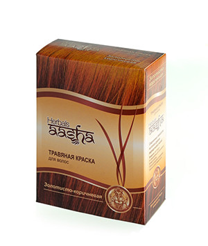 Травяная краска для волос Золотисто-коричневая Aasha Herbals