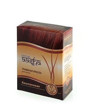 Травяная краска для волос Каштановая Aasha Herbals